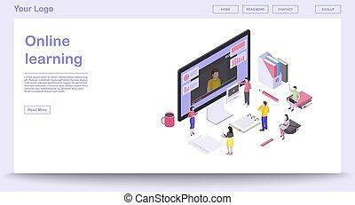 isometric, webpage, skabelon, vektor, lærdom, illustration, online