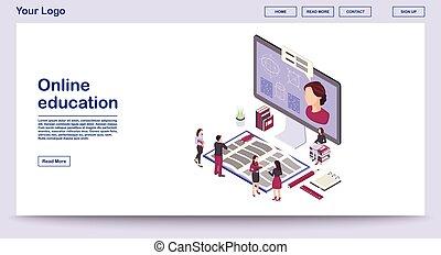 isometric, webpage, skabelon, vektor, undervisning, illustration, online