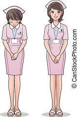 jævn, cute, smil, lyserød, sygeplejerske