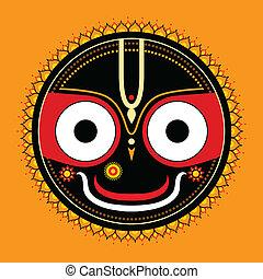 jagannath., gud, indisk, universe.