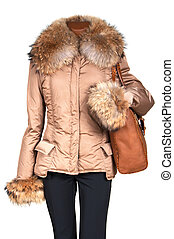 jakke, bag, kvindelig