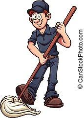 janitor, cartoon