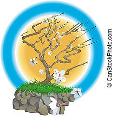 japansk, illustration, træ
