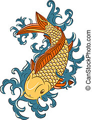 japansk, koi, (carp, firmanavnet, fish)