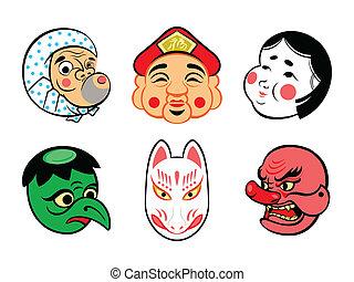 japansk, masker, komisk