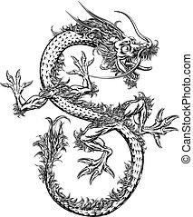 japansk, orientalsk, eller, kinesisk drage