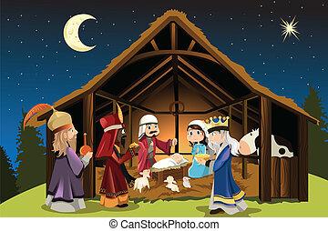 jesus, mænd, klog, kristus, tre