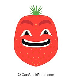 jordbær, cartoon, glade