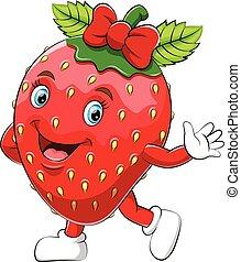 jordbær, cartoon, karakter, glade