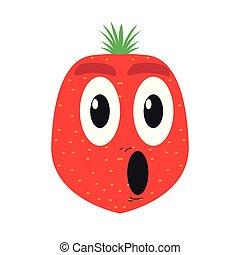 jordbær, cartoon, overrask