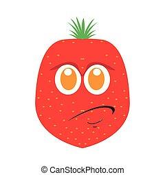 jordbær, cartoon, sørgelige