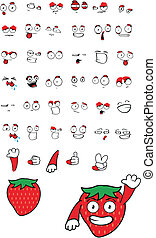 jordbær, cartoon, set04