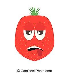 jordbær, cartoon, trætt