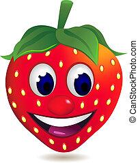 jordbær, karakter, cartoon