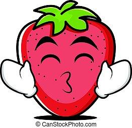 jordbær, tunge, karakter, cartoon, ydre