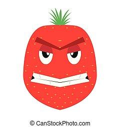 jordbær, vrede, cartoon