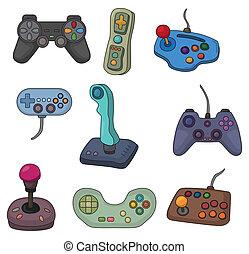 joystick, boldspil, sæt, ikon, cartoon