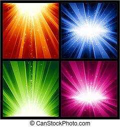 jul, eksplosioner, festlige, stjerner, lys, år, nye
