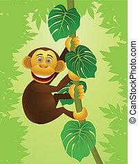 jungle, chimpanse, cartoon