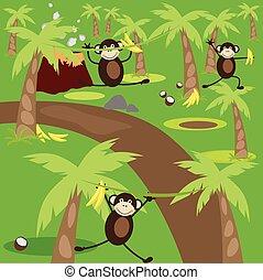 jungle., spille, abe, tre