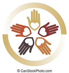 kærlig, foren, hænder, vector.