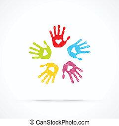 kærlig, foren, hænder