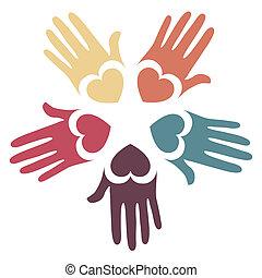 kærlig, hænder, design.