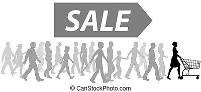 køb, indkøb, parade, omsætning, cart, shoppers, leder