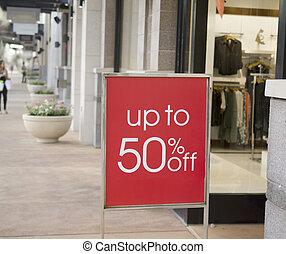 købecenter, udsalg underskriv, udenfor, oplagr retail