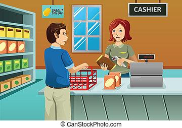 købmandsforretning, kasserer, butik, arbejder