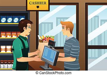 købmandsforretning shopping, mand
