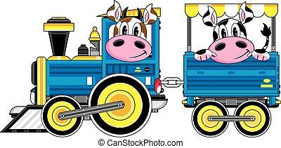 køer, tog, cartoon