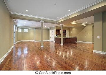 køkken, konstruktion til hjem, nye, basement