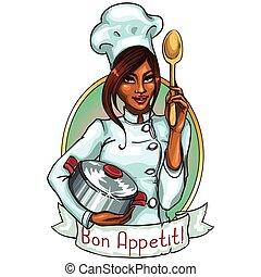 køkkenchef, pot, spoon., kønne