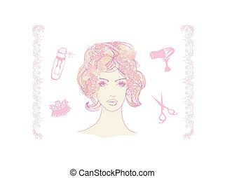 køn pige, salon, hairdresser, illustration, vektor