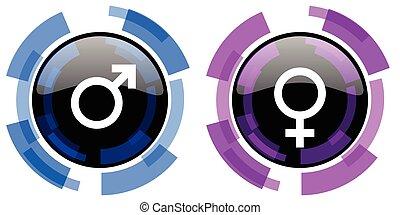 køn, vektor, mandlig, kvindelig, iconerne