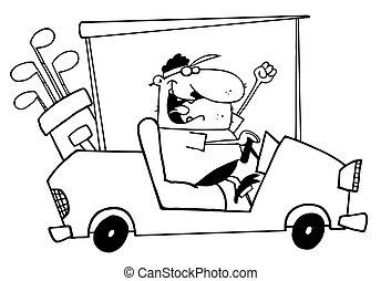 kørende, golfer, skitseret, cart, guy