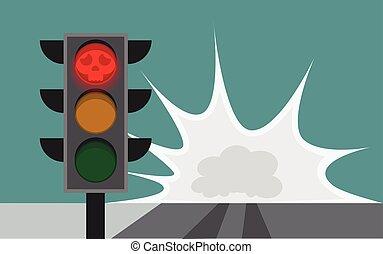 kørende, styrt, løb, holde inde, vej, tegn, sammen, kryds, tilsidesæt, pengeskab, forårsager, rød, trafik lys
