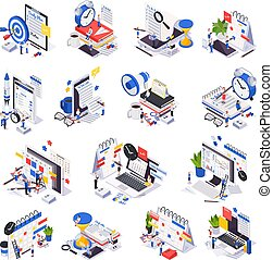 køreplanen, sæt, ledelse, ikon, tid, planlægning, isometric