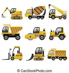 køretøjene, stor, konstruktion, iconerne