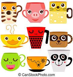 kaffe, dyr, krus, kop