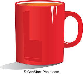 kaffe, rød, illustration, krus