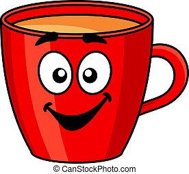 kaffe, rød, krus, farverig, cartoon