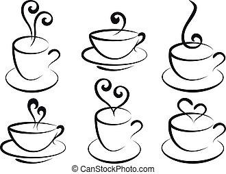 kaffe te, vektor, kopper