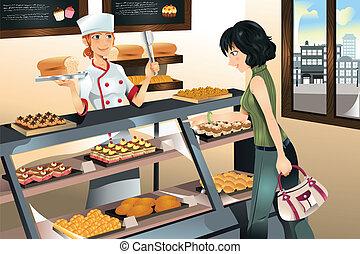 kage, bageri, købe, butik