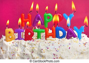 kage, fødselsdag, glade