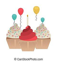 kage, hvid, fødselsdag, baggrund, glade