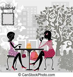 kage, sommer, pige, cafe