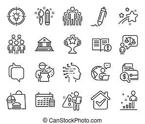 kalender, folk, gruppe, set., iconerne, vektor, ikon, signs., included, undervisning, sagfører