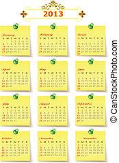 kalender, vektor, 2013, år